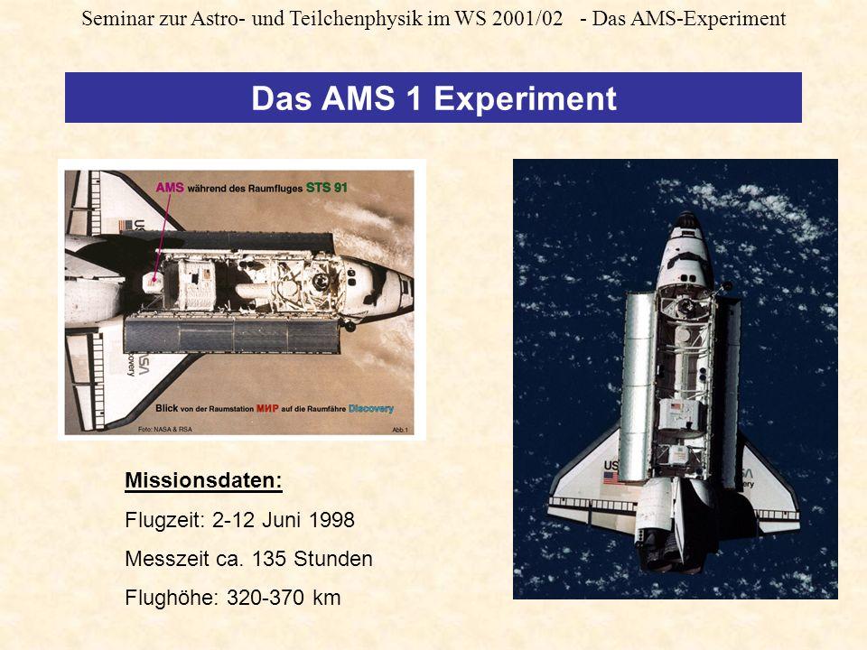 Seminar zur Astro- und Teilchenphysik im WS 2001/02 - Das AMS-Experiment Das AMS 1 Experiment Missionsdaten: Flugzeit: 2-12 Juni 1998 Messzeit ca.