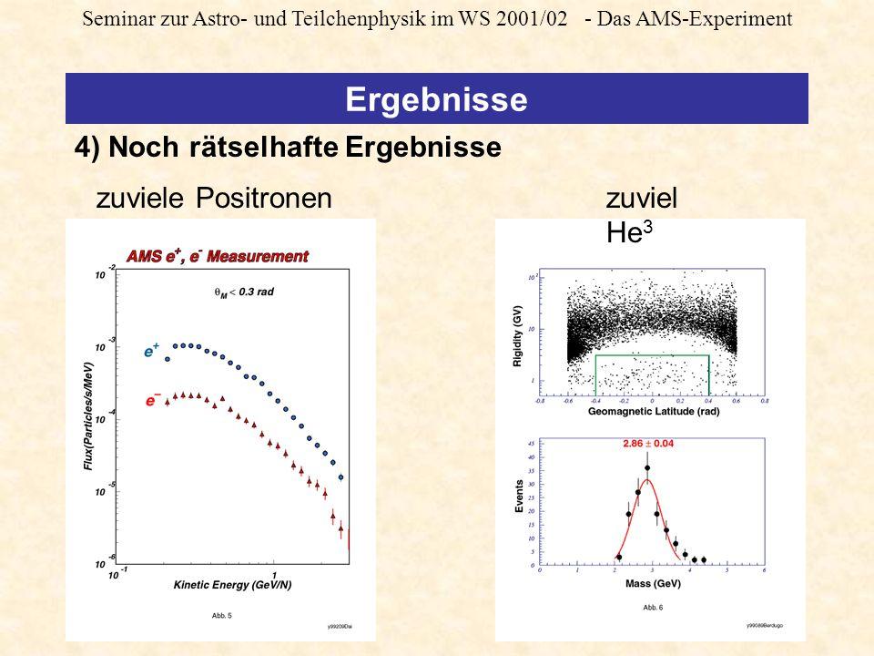 Seminar zur Astro- und Teilchenphysik im WS 2001/02 - Das AMS-Experiment zuviele Positronenzuviel He 3 4) Noch rätselhafte Ergebnisse Ergebnisse