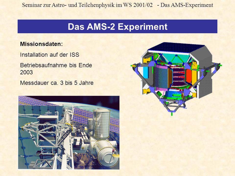 Seminar zur Astro- und Teilchenphysik im WS 2001/02 - Das AMS-Experiment Missionsdaten: Installation auf der ISS Betriebsaufnahme bis Ende 2003 Messdauer ca.