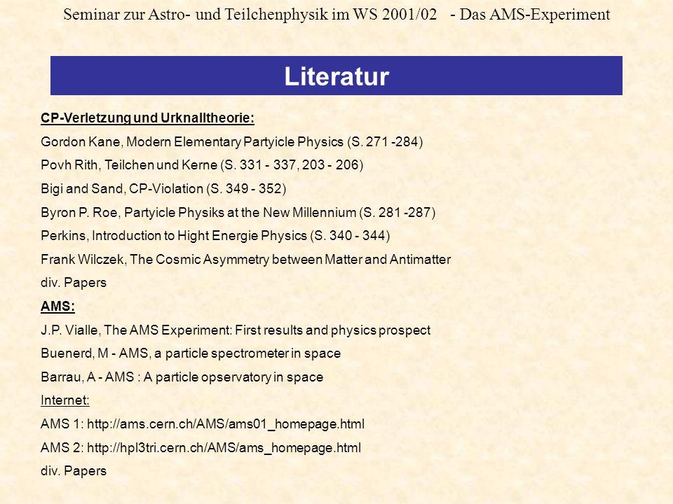 Seminar zur Astro- und Teilchenphysik im WS 2001/02 - Das AMS-Experiment CP-Verletzung und Urknalltheorie: Gordon Kane, Modern Elementary Partyicle Physics (S.
