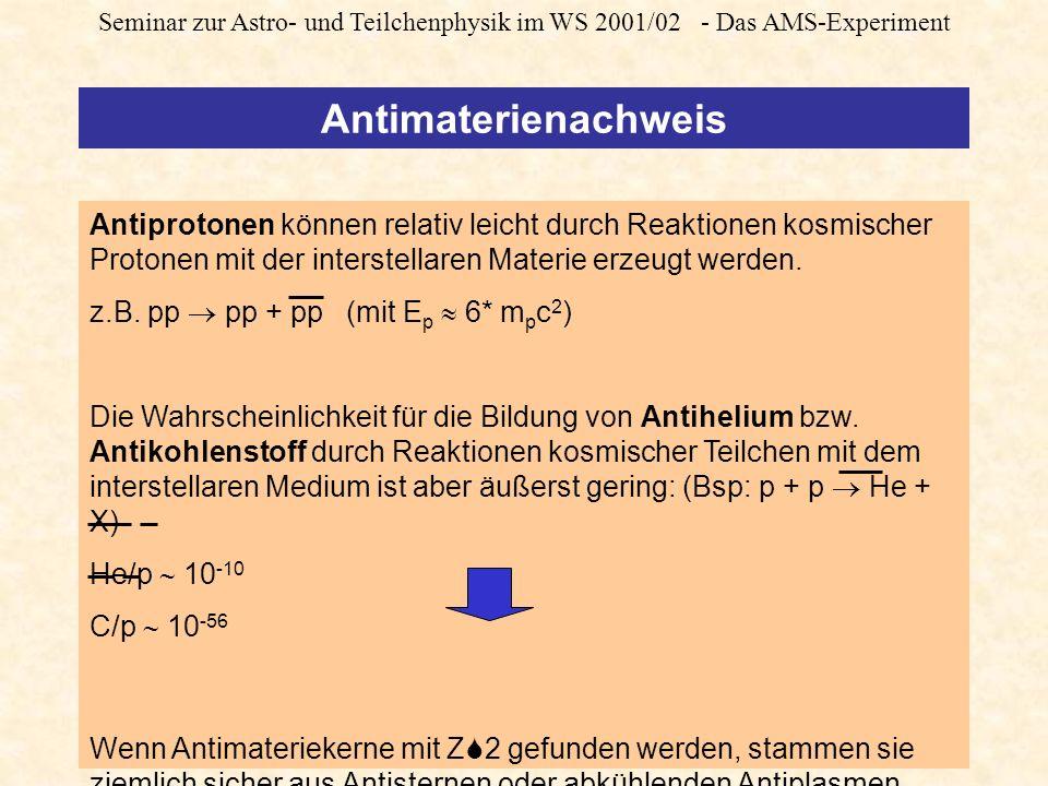 Seminar zur Astro- und Teilchenphysik im WS 2001/02 - Das AMS-Experiment Antimaterienachweis Antiprotonen können relativ leicht durch Reaktionen kosmischer Protonen mit der interstellaren Materie erzeugt werden.