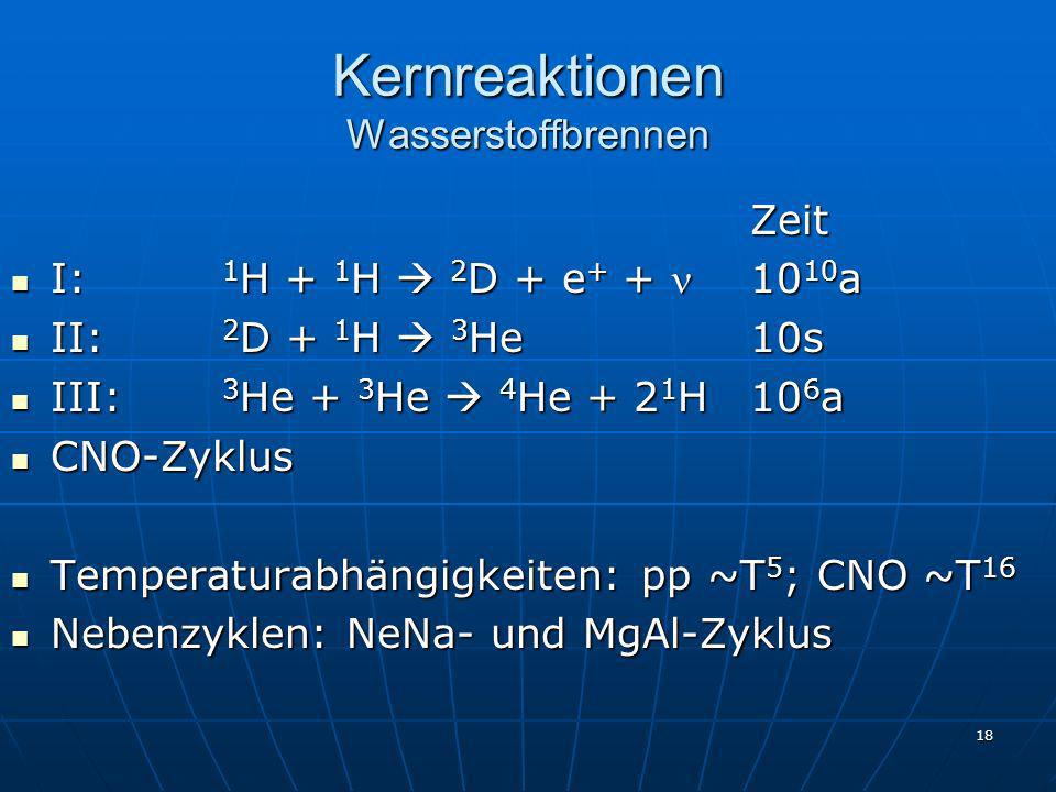 18 Kernreaktionen Wasserstoffbrennen Zeit I: 1 H + 1 H 2 D + e + + 10 10 a I: 1 H + 1 H 2 D + e + + 10 10 a II: 2 D + 1 H 3 He10s II: 2 D + 1 H 3 He10