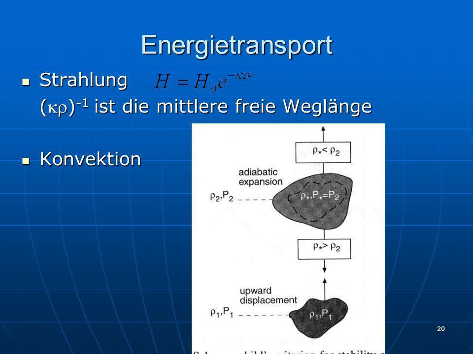 20 Energietransport Strahlung Strahlung () -1 ist die mittlere freie Weglänge Konvektion Konvektion