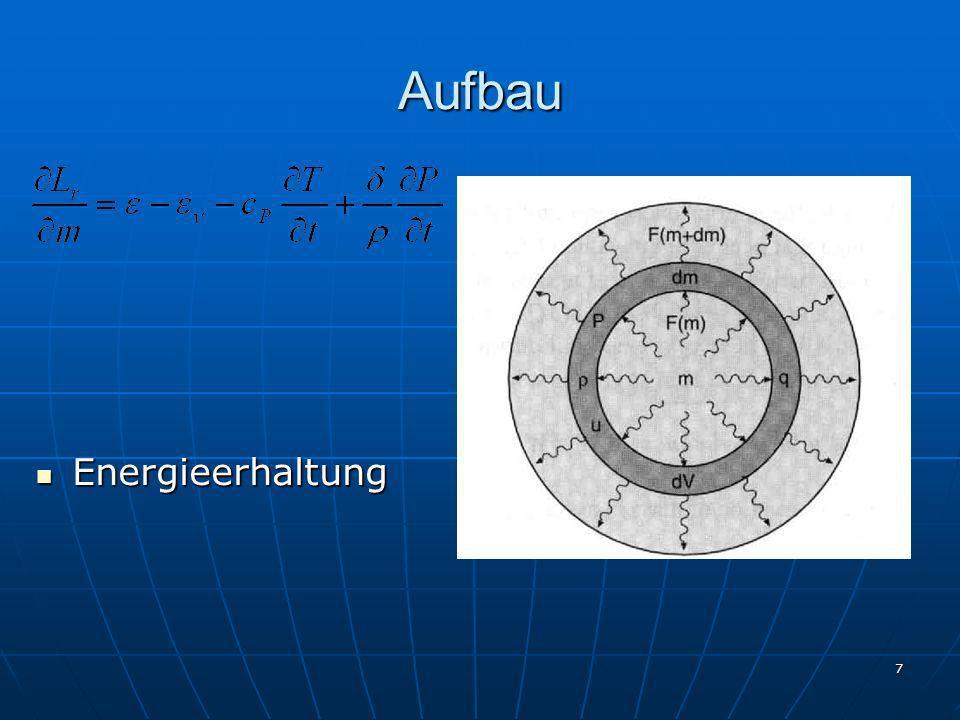 18 Kernreaktionen Wasserstoffbrennen Zeit I: 1 H + 1 H 2 D + e + + 10 10 a I: 1 H + 1 H 2 D + e + + 10 10 a II: 2 D + 1 H 3 He10s II: 2 D + 1 H 3 He10s III: 3 He + 3 He 4 He + 2 1 H10 6 a III: 3 He + 3 He 4 He + 2 1 H10 6 a CNO-Zyklus CNO-Zyklus Temperaturabhängigkeiten: pp ~T 5 ; CNO ~T 16 Temperaturabhängigkeiten: pp ~T 5 ; CNO ~T 16 Nebenzyklen: NeNa- und MgAl-Zyklus Nebenzyklen: NeNa- und MgAl-Zyklus