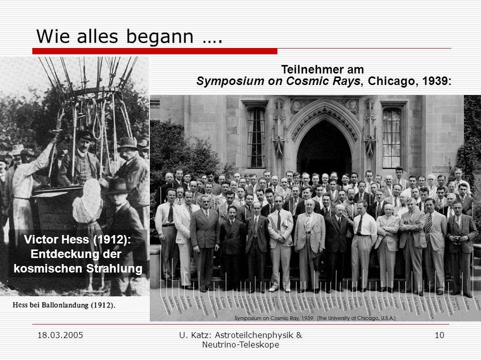 18.03.2005U.Katz: Astroteilchenphysik & Neutrino-Teleskope 10 Wie alles begann ….