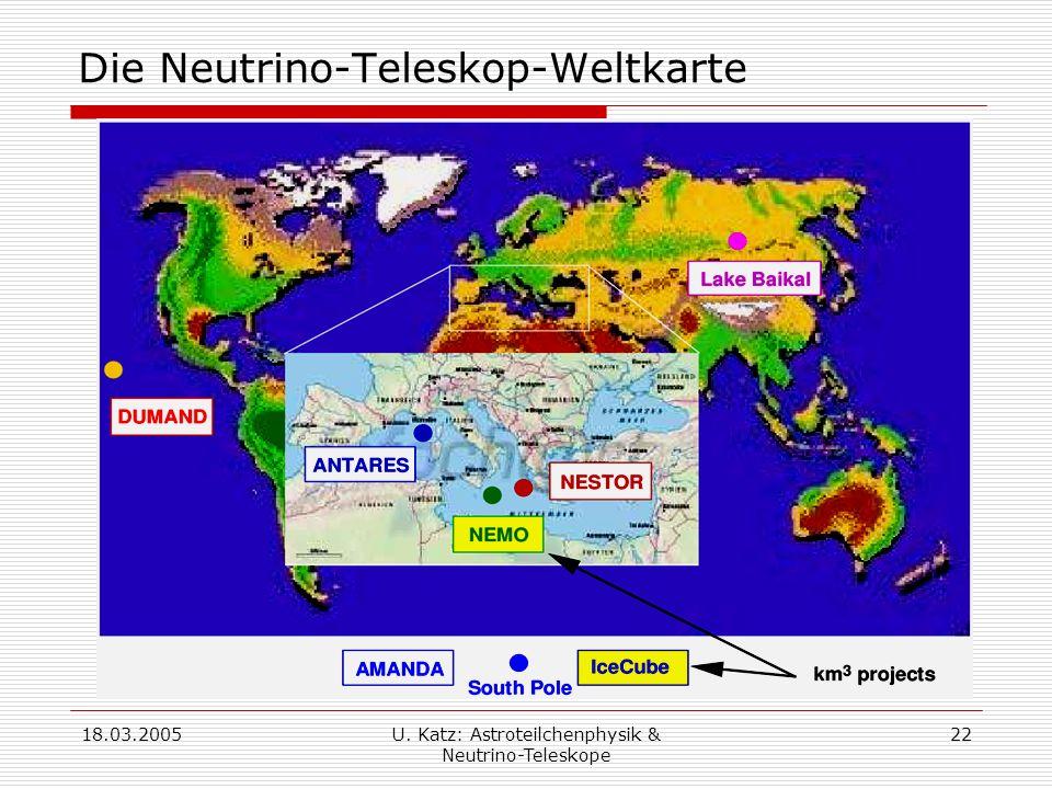 18.03.2005U. Katz: Astroteilchenphysik & Neutrino-Teleskope 22 Die Neutrino-Teleskop-Weltkarte