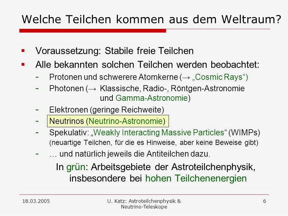 18.03.2005U.Katz: Astroteilchenphysik & Neutrino-Teleskope 17 Neutrinos sind etwas Besonderes .