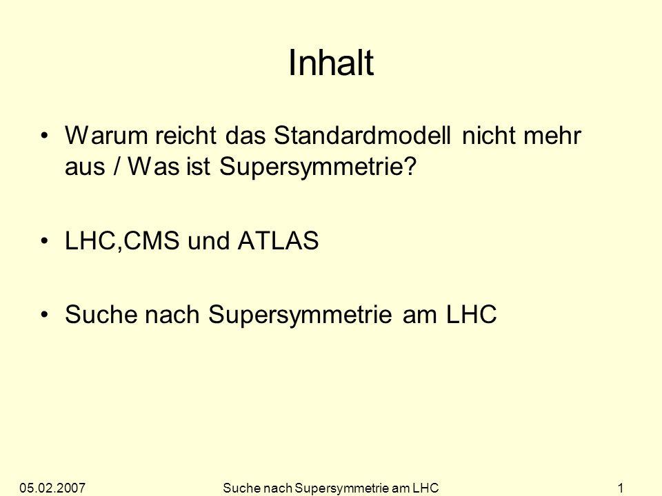 05.02.2007Suche nach Supersymmetrie am LHC 21 Suche nach Supersymmetrie am LHC Squarks und Gluinos werden über starke Wechsel- wirkung produziert Zerfall in Leptonen, Hadronenjets und LSPE T miss 2l + 6j + E T miss 2l + 2 + 6j + E T miss