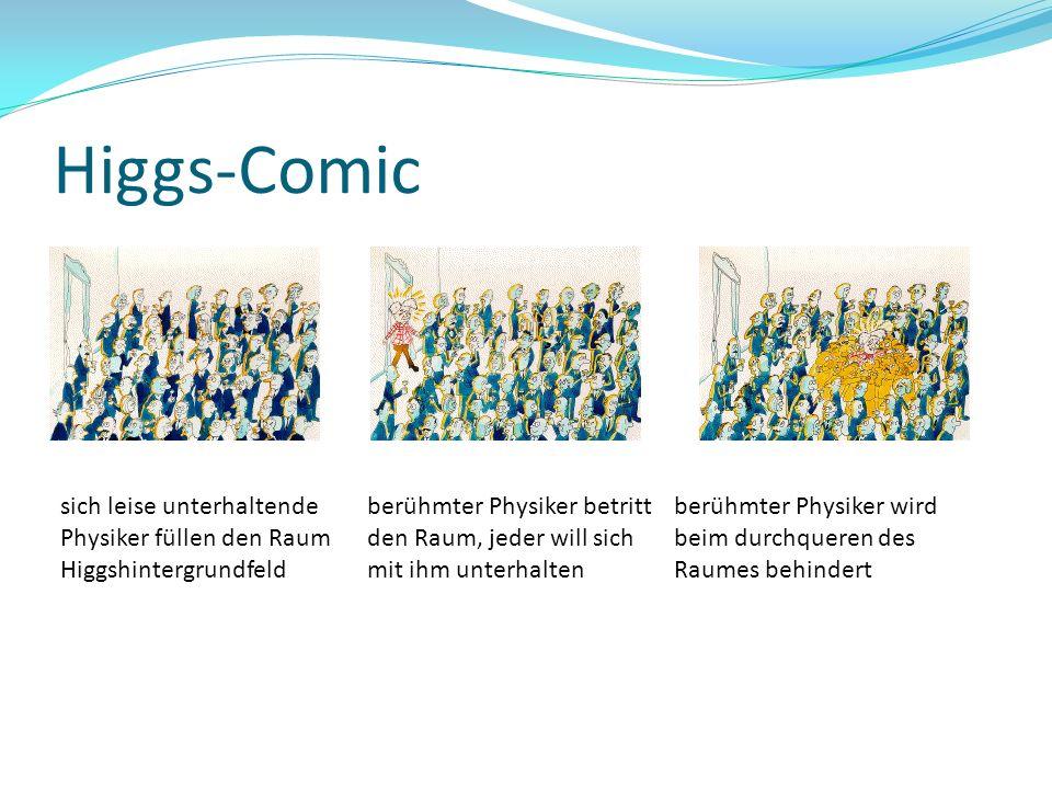 Higgs-Comic sich leise unterhaltende Physiker füllen den Raum Higgshintergrundfeld berühmter Physiker betritt den Raum, jeder will sich mit ihm unterh