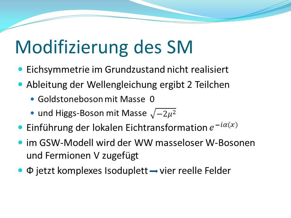 Modifizierung des SM Eichsymmetrie im Grundzustand nicht realisiert Ableitung der Wellengleichung ergibt 2 Teilchen Goldstoneboson mit Masse 0 und Hig