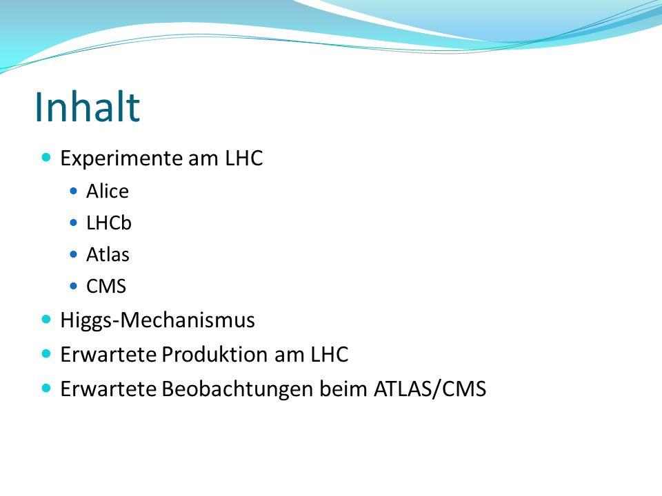 Inhalt Experimente am LHC Alice LHCb Atlas CMS Higgs-Mechanismus Erwartete Produktion am LHC Erwartete Beobachtungen beim ATLAS/CMS