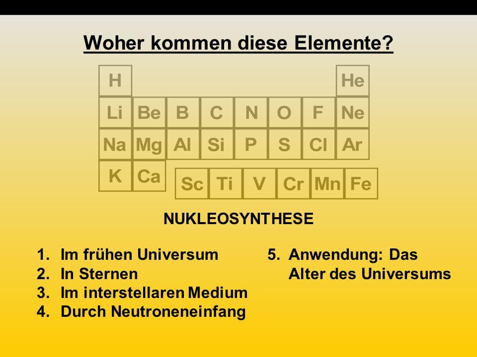 NUKLEOSYNTHESE 1.Im frühen Universum 2.In Sternen 3.Im interstellaren Medium 4.Durch Neutroneneinfang 5.