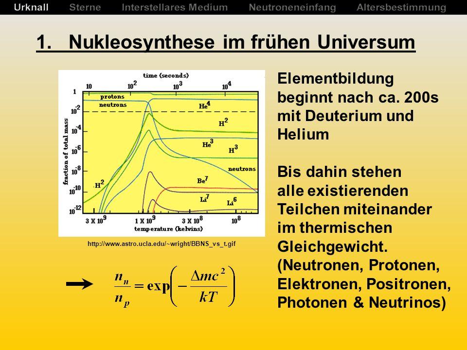 1.Nukleosynthese im frühen Universum Elementbildung beginnt nach ca.