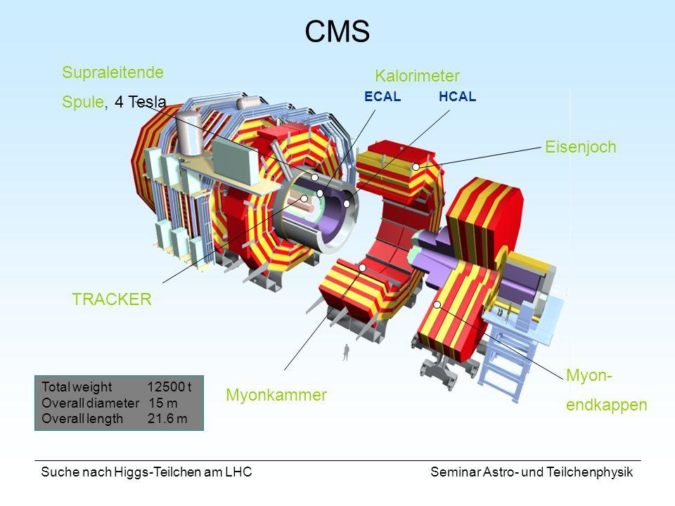 Suche nach Higgs-Teilchen am LHC Seminar Astro- und Teilchenphysik CMS Myonkammer Kalorimeter ECAL Supraleitende Spule, 4 Tesla Eisenjoch TRACKER Myon