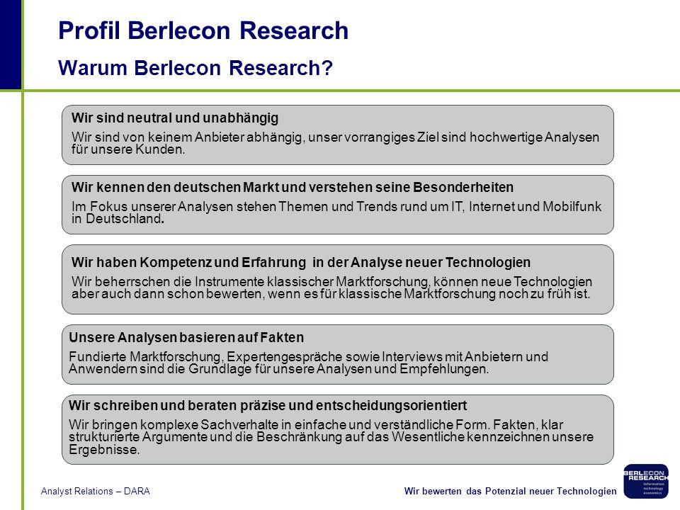 Wir bewerten das Potenzial neuer TechnologienAnalyst Relations – DARA Kooperationspartner Fraunhofer ESK verfügt über langjährige technische Erfahrung