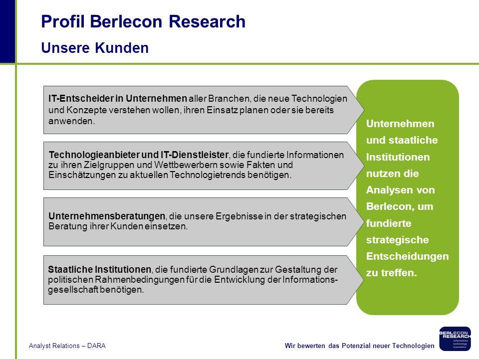 Wir bewerten das Potenzial neuer TechnologienAnalyst Relations – DARA Methodik Expertengespräche Wir verfügen über ausgezeichnetes Know-how in der Dur