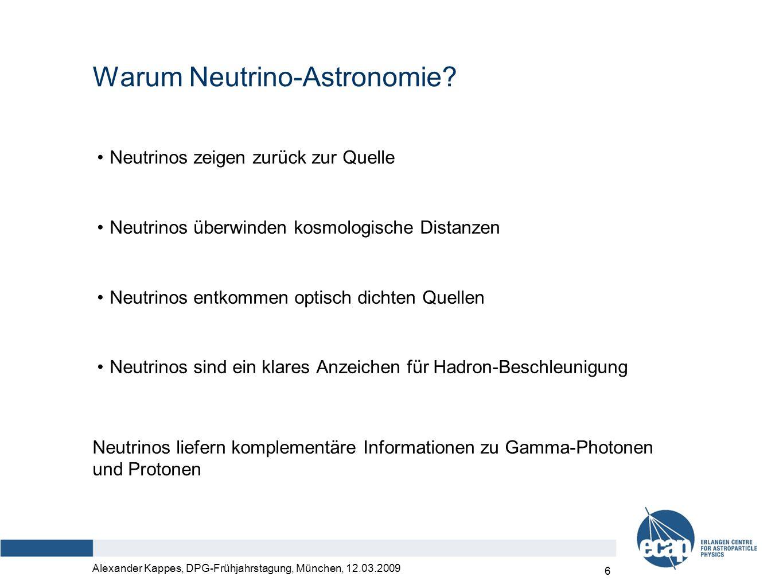 Alexander Kappes, DPG-Frühjahrstagung, München, 12.03.2009 7 Nachweis von kosmischen Neutrinos muon νμνμ nuclear reaction cascade