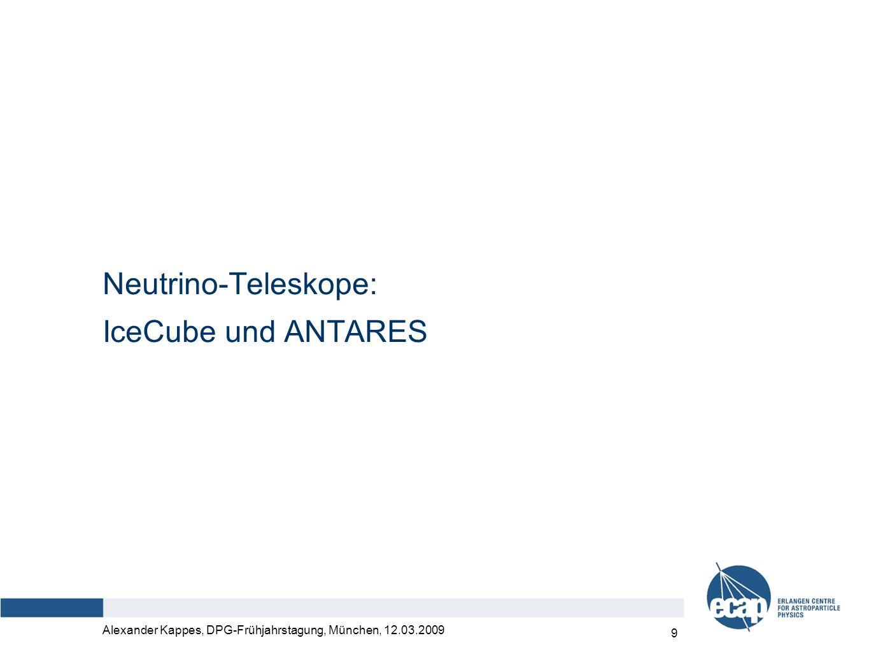 Alexander Kappes, DPG-Frühjahrstagung, München, 12.03.2009 10 Himmelsabdeckung Sichtbarkeit ANTARES (Mittelmeer) > 75% 25% – 75% < 25% TeV γ-Strahlungsquellen galaktische extragalaktisch Sichtbarkeit IceCube (Südpol) 100% 0%