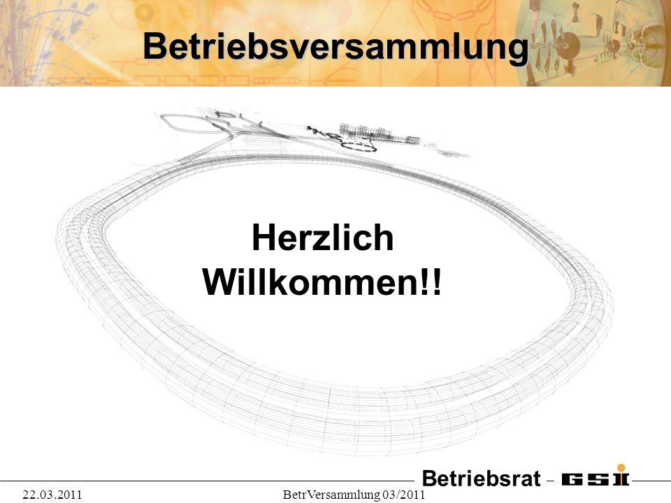 Betriebsrat 22.03.2011BetrVersammlung 03/2011 Betriebsversammlung Herzlich Willkommen!!