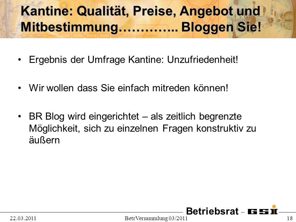 Betriebsrat 22.03.2011BetrVersammlung 03/2011 18 Kantine: Qualität, Preise, Angebot und Mitbestimmung………….. Bloggen Sie! Ergebnis der Umfrage Kantine: