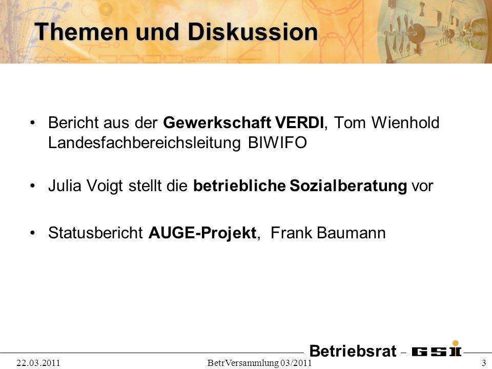 Betriebsrat 22.03.2011BetrVersammlung 03/2011 14 Grundlagenvereinbarung: Zusagen GF Ausschluß betriebsbedingter Kündigungen, sowohl Beendigungs- als auch Änderungskündigungen.