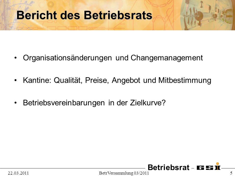 Betriebsrat 22.03.2011BetrVersammlung 03/2011 5 Bericht des Betriebsrats Organisationsänderungen und Changemanagement Kantine: Qualität, Preise, Angeb