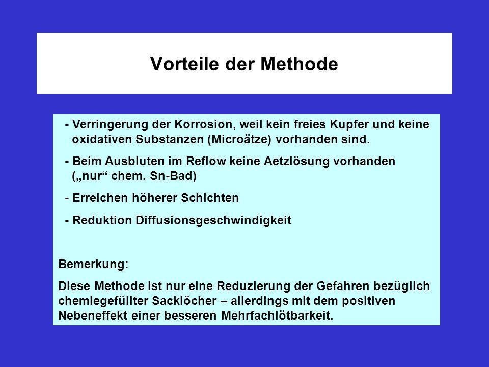 Vorteile der Methode - Verringerung der Korrosion, weil kein freies Kupfer und keine oxidativen Substanzen (Microätze) vorhanden sind. - Beim Ausblute