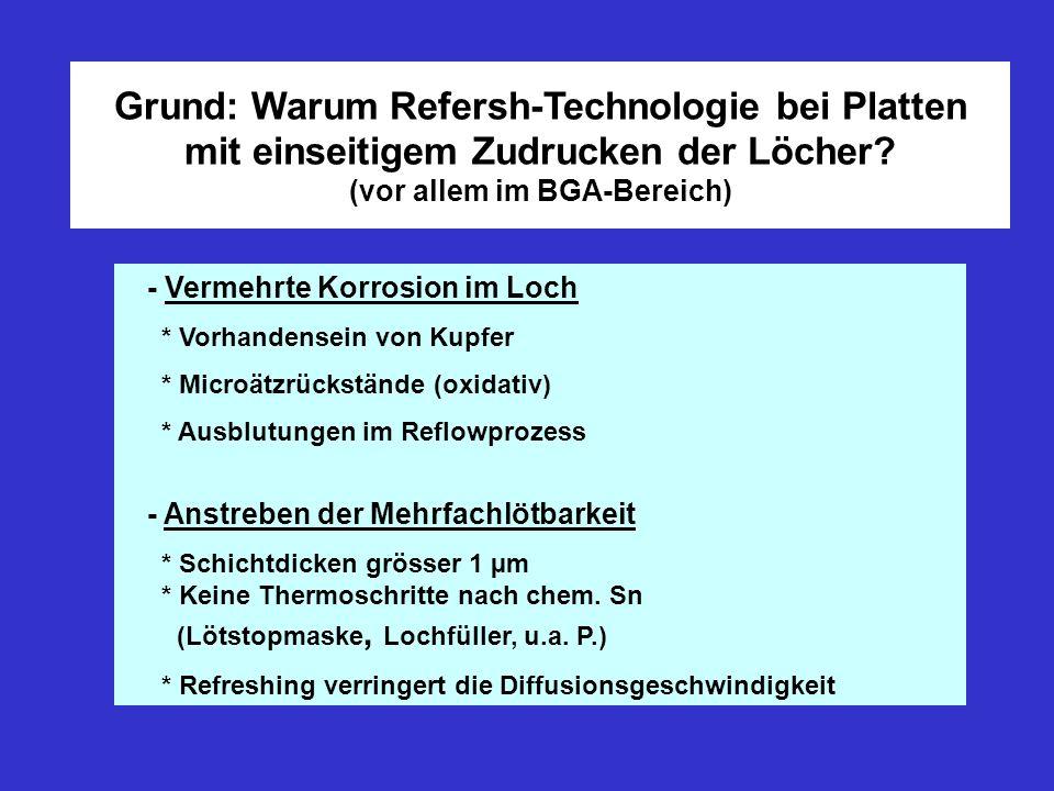 Grund: Warum Refersh-Technologie bei Platten mit einseitigem Zudrucken der Löcher? (vor allem im BGA-Bereich) - Vermehrte Korrosion im Loch * Vorhande