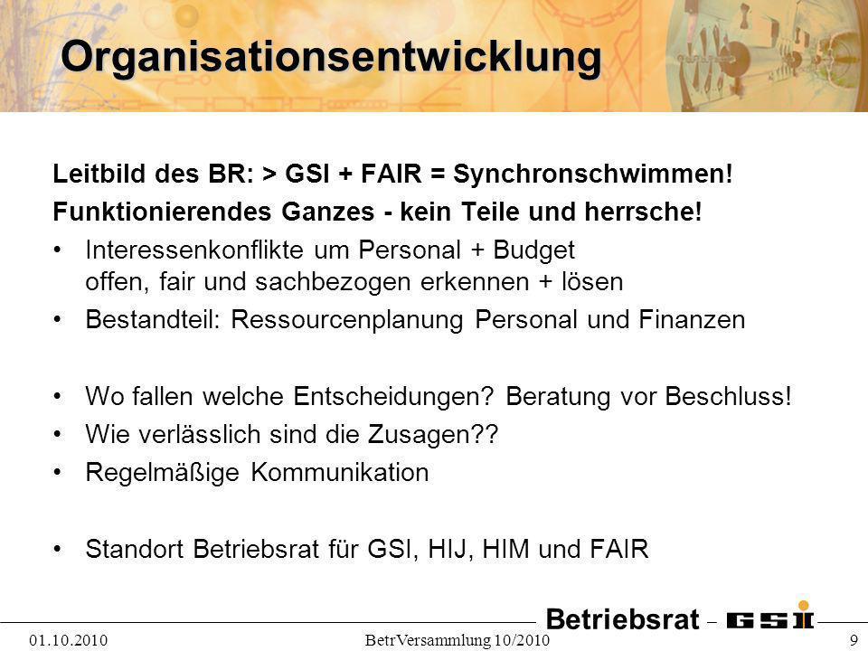 Betriebsrat 01.10.2010BetrVersammlung 10/2010 9Organisationsentwicklung Leitbild des BR: > GSI + FAIR = Synchronschwimmen! Funktionierendes Ganzes - k