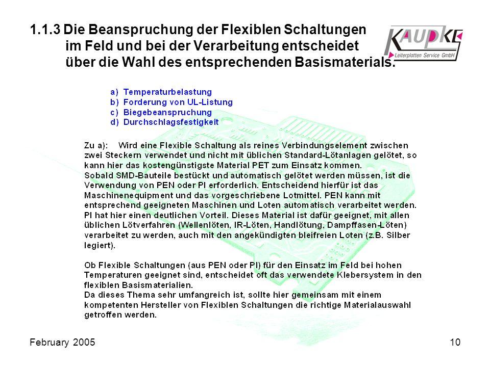 February 200510 1.1.3 Die Beanspruchung der Flexiblen Schaltungen im Feld und bei der Verarbeitung entscheidet über die Wahl des entsprechenden Basismaterials.