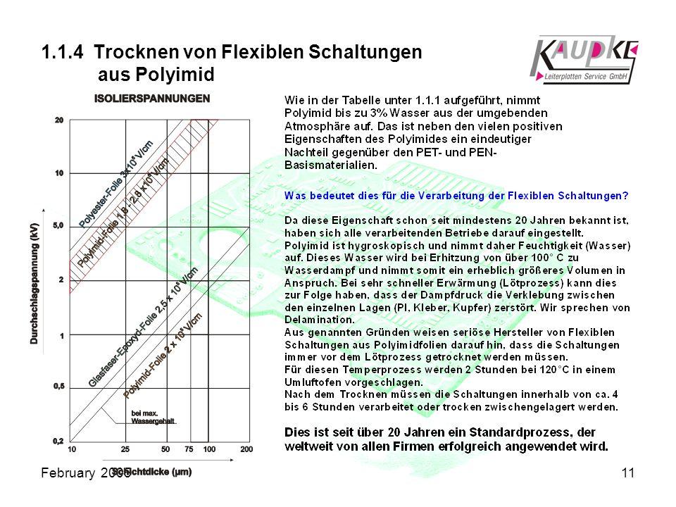 February 200511 1.1.4 Trocknen von Flexiblen Schaltungen aus Polyimid