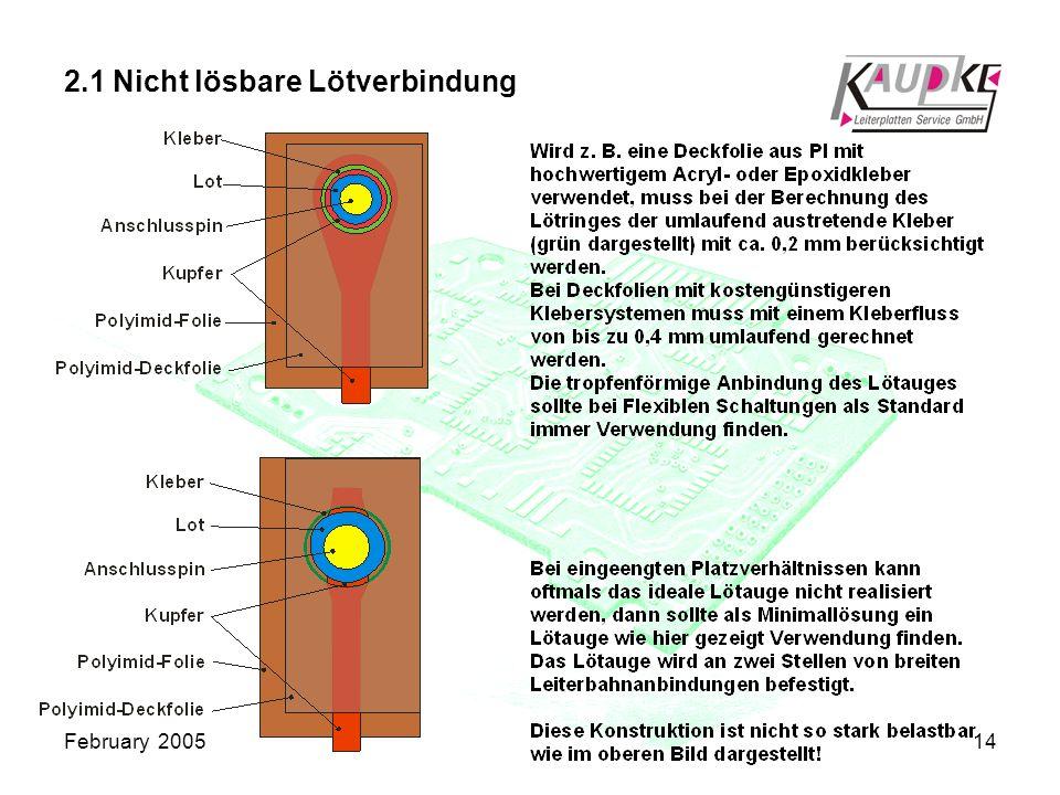 February 200514 2.1 Nicht lösbare Lötverbindung