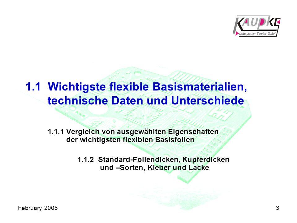 February 20053 1.1 Wichtigste flexible Basismaterialien, technische Daten und Unterschiede 1.1.1 Vergleich von ausgewählten Eigenschaften der wichtigsten flexiblen Basisfolien 1.1.2 Standard-Foliendicken, Kupferdicken und –Sorten, Kleber und Lacke