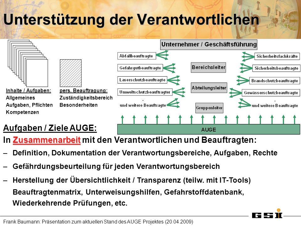 Frank Baumann: Präsentation zum aktuellen Stand des AUGE Projektes (20.04.2009) Problem und Lösung Stammdatenberg sammeln erheben, dokumentieren beurteilen, darstellen Gefahrstoff- verzeichnis Gefährdungs- beurteilung