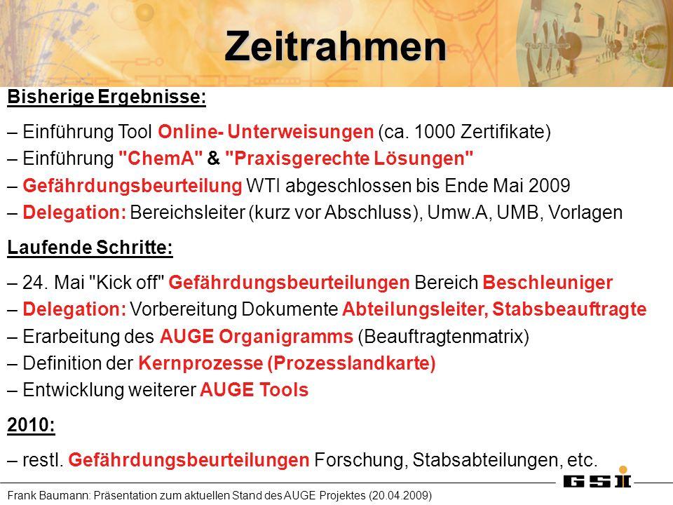 Frank Baumann: Präsentation zum aktuellen Stand des AUGE Projektes (20.04.2009) Zeitrahmen Bisherige Ergebnisse: – Einführung Tool Online- Unterweisun