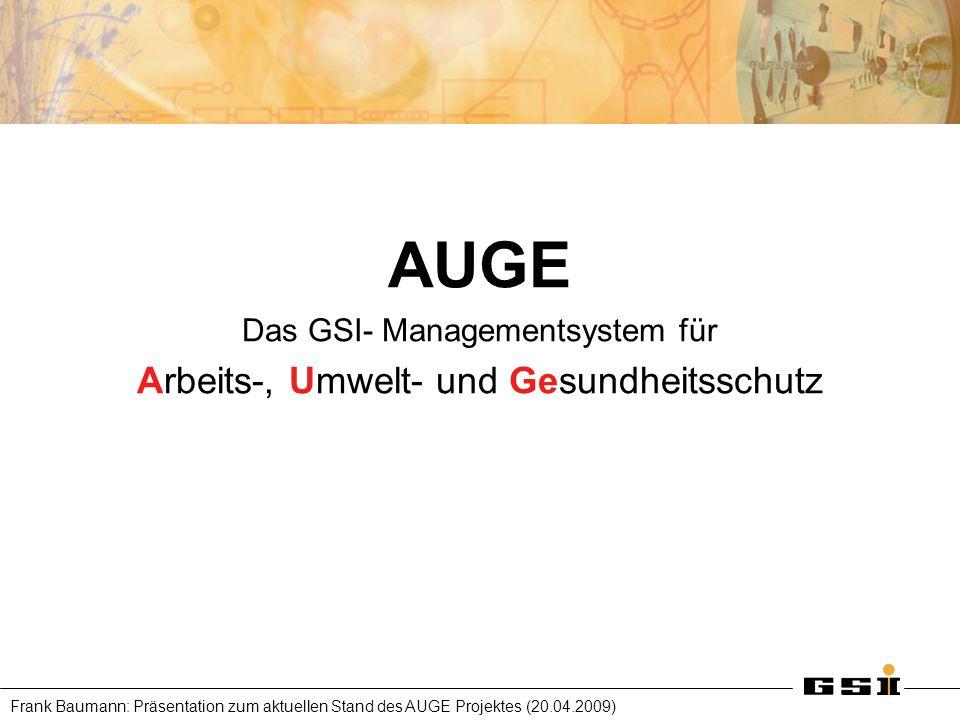 Frank Baumann: Präsentation zum aktuellen Stand des AUGE Projektes (20.04.2009) AUGE Das GSI- Managementsystem für Arbeits-, Umwelt- und Gesundheitssc