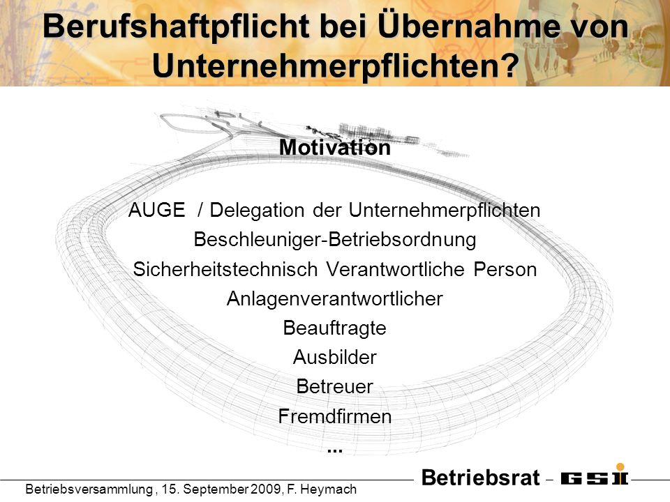 Betriebsrat Betriebsversammlung, 15. September 2009, F. Heymach Berufshaftpflicht bei Übernahme von Unternehmerpflichten? Motivation AUGE / Delegation