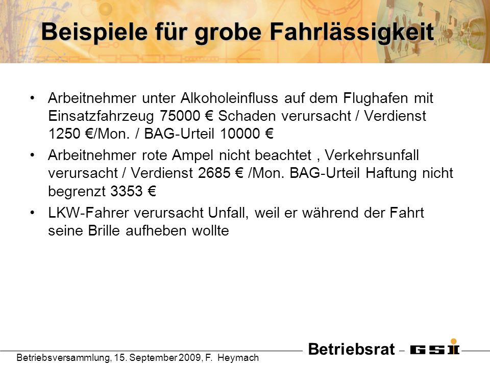 Betriebsrat Betriebsversammlung, 15. September 2009, F. Heymach Beispiele für grobe Fahrlässigkeit Arbeitnehmer unter Alkoholeinfluss auf dem Flughafe