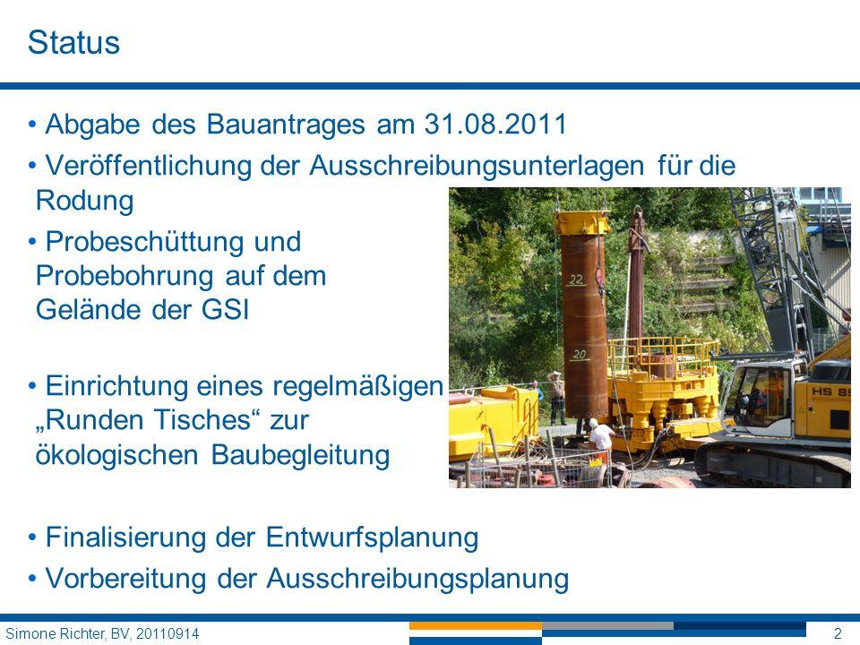 Status Abgabe des Bauantrages am 31.08.2011 Veröffentlichung der Ausschreibungsunterlagen für die Rodung Probeschüttung und Probebohrung auf dem Gelän