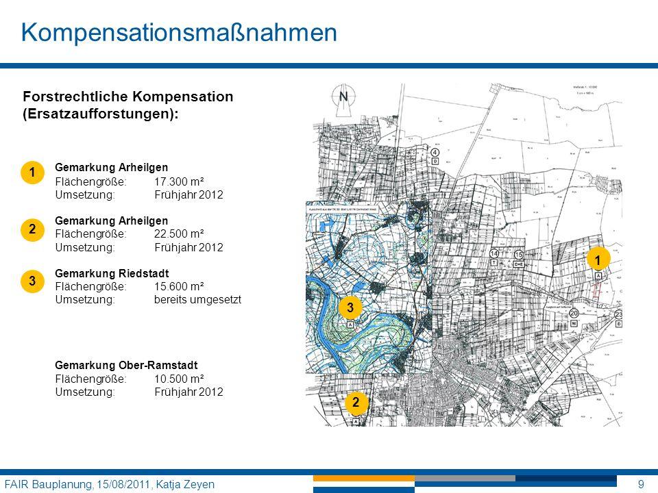 Kompensationsmaßnahmen FAIR Bauplanung, 15/08/2011, Katja Zeyen9 1 3 2 Forstrechtliche Kompensation (Ersatzaufforstungen): Gemarkung Arheilgen Flächen