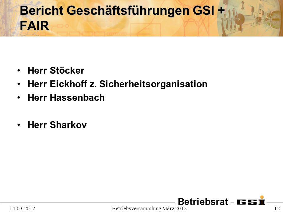 Betriebsrat 14.03.2012Betriebsversammlung März 2012 12 Bericht Geschäftsführungen GSI + FAIR Herr Stöcker Herr Eickhoff z. Sicherheitsorganisation Her