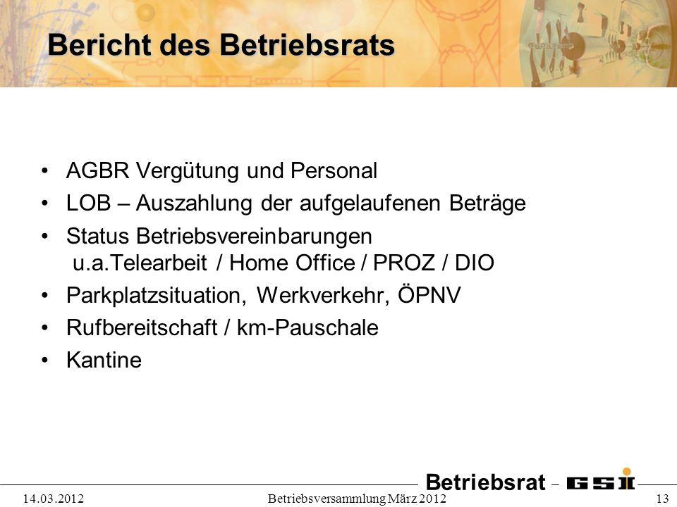 Betriebsrat 14.03.2012Betriebsversammlung März 2012 13 Bericht des Betriebsrats AGBR Vergütung und Personal LOB – Auszahlung der aufgelaufenen Beträge