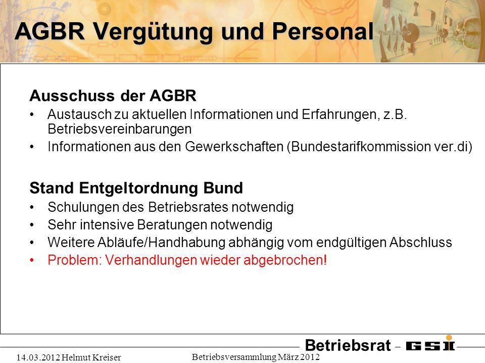 Betriebsrat 14.03.2012 Helmut Kreiser Betriebsversammlung März 2012 AGBR Vergütung und Personal Ausschuss der AGBR Austausch zu aktuellen Informatione
