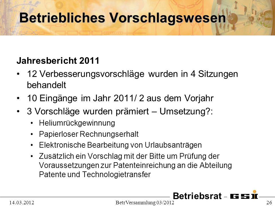 Betriebsrat 14.03.2012BetrVersammlung 03/2012 26 Betriebliches Vorschlagswesen Jahresbericht 2011 12 Verbesserungsvorschläge wurden in 4 Sitzungen beh