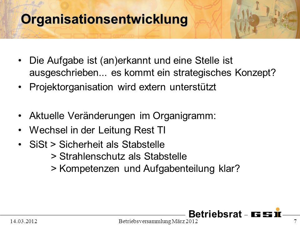 Betriebsrat 14.03.2012Betriebsversammlung März 2012 7Organisationsentwicklung Die Aufgabe ist (an)erkannt und eine Stelle ist ausgeschrieben... es kom