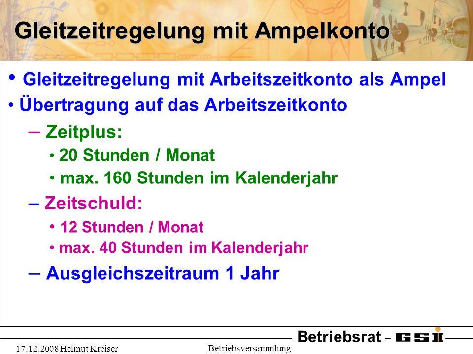 Betriebsrat 17.12.2008 Helmut Kreiser Betriebsversammlung Gleitzeitregelung mit Ampelkonto Gleitzeitregelung mit Arbeitszeitkonto als Ampel Übertragun