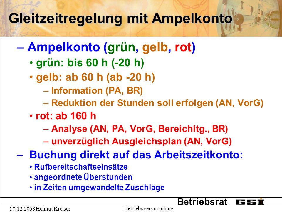 Betriebsrat 17.12.2008 Helmut Kreiser Betriebsversammlung Gleitzeitregelung mit Ampelkonto – Ampelkonto (grün, gelb, rot) grün: bis 60 h (-20 h) gelb: