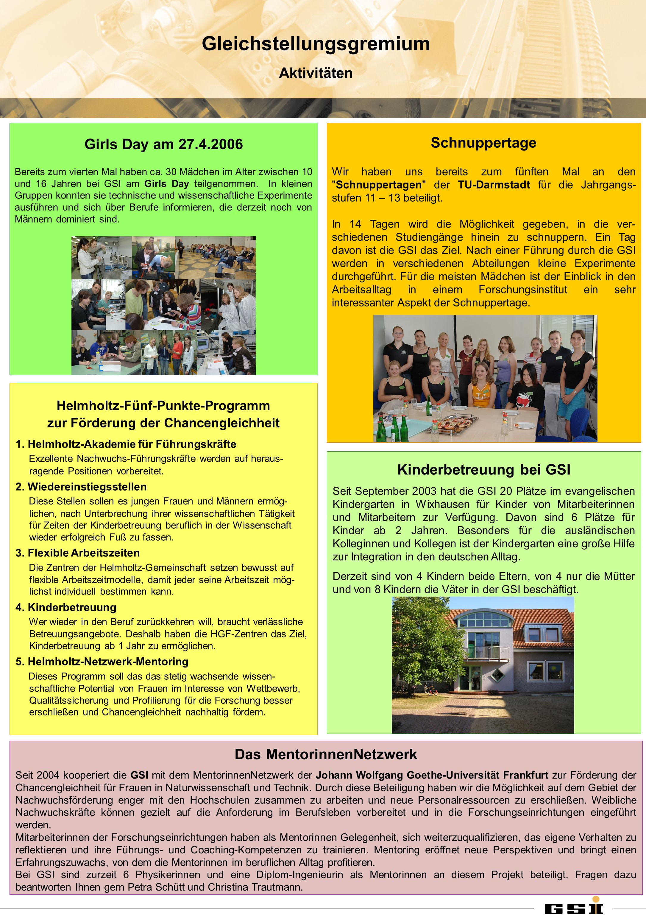 Helmholtz-Fünf-Punkte-Programm zur Förderung der Chancengleichheit 1.