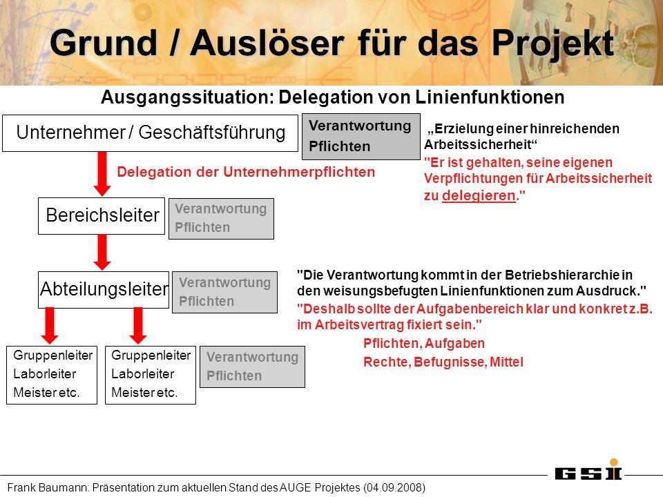 Frank Baumann: Präsentation zum aktuellen Stand des AUGE Projektes (04.09.2008) Grund / Auslöser für das Projekt Ausgangssituation: Delegation von Lin