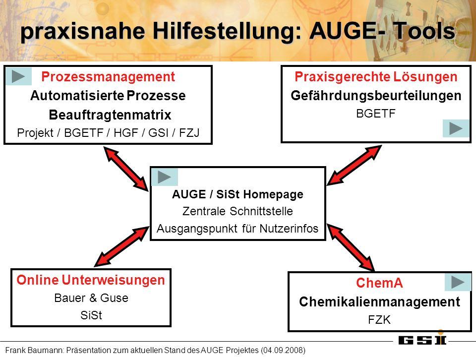 Frank Baumann: Präsentation zum aktuellen Stand des AUGE Projektes (04.09.2008) praxisnahe Hilfestellung: AUGE- Tools AUGE / SiSt Homepage Zentrale Sc